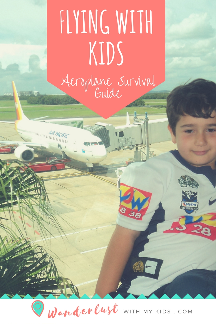 Flying with kids, aeroplane survival guide, activities, tips, hacks for flying with kids on long flights.